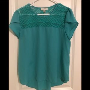 Cute teal/aqua top with lace detail on neck